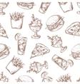 Fast food seamless background menu pattern vector image