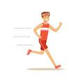 smiling running man character vector image