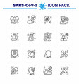 16 line coronavirus epidemic icon pack suck vector image vector image