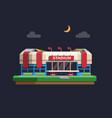 arena sport stadium building in night flat vector image vector image