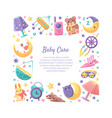 baby care frame square shape with place
