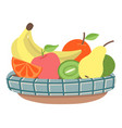 bowl with fruits banana and kiwi apple and pear vector image