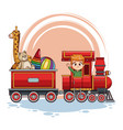 boy driving train with toys vector image vector image