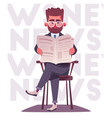 businessman is reading a newspaper cartoon vector image vector image