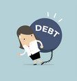 businesswoman carry debt financial concept vector image vector image
