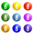 candy rabbit icons set vector image vector image