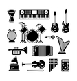 Classic music instruments silhouettes vector image vector image