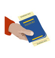 close up man holding in his hand passport vector image