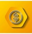 coin icon Money design over hexagon vector image