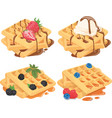 collection of belgian waffles with fruit fillings vector image vector image