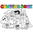 coloring book halloween topic 3 vector image vector image