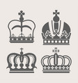 crowns royal heraldic icons set vector image