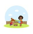 cute kids working in garden girl with watering vector image vector image
