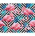 flamingo bird and tropical flowers geometric vector image vector image