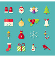 Flat Winter Merry Christmas Objects Set with vector image