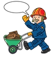 Funny construction worker with cart vector image vector image