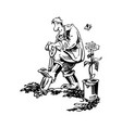 gardener working cartoon vector image vector image