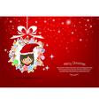 girl santa christmas tree icon for christmas card vector image vector image