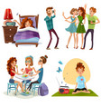 good day with friends 4 icons vector image