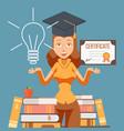 graduate woman cartoon character vector image