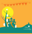 halloween castle with ghosts vector image vector image
