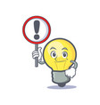light bulb character cartoon with sign vector image