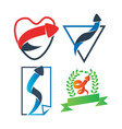 love paper shield leaf ribbon arrow direction vector image