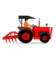 man is driving a red tractor on white background vector image
