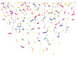 many falling colorful tiny confetti and ribbon vector image