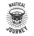 nautical journey skull in boat captain hat design vector image
