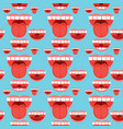 Open mouth tongue teeth seamless pattern