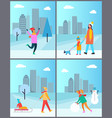 people halving fun outdoors mother carrying child vector image vector image