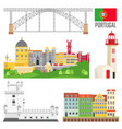 portugal set landmark icons in flat style vector image vector image