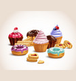 realistic sweet treats composition vector image vector image