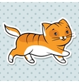 Red cute funny cat run vector image vector image