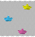 seamless wavy line pattern with origami boats vector image vector image