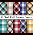 set 10 check plaid seamless pattern in green vector image vector image