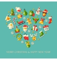set christmas and happy new year flat design vector image