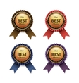 set top quality golden labels with ribbons vector image