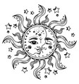 Sun and moon with faces among stars