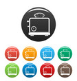 timer toaster icons set color vector image