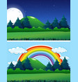 two forest scenes night and day vector image vector image