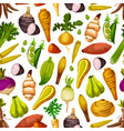 vegetables and roots seamless pattern vector image