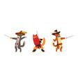 warlike animals set musketeer cat characters vector image vector image