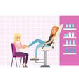 woman enjoying a foot massage at spa or beauty vector image vector image