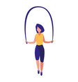 young woman jumping rope vector image vector image