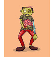 Zombie holding brain in hand vector image