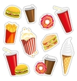 Set of colorful cartoon fast food icons on white vector image