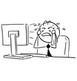 cartoon of office worker clerk manager crying in vector image