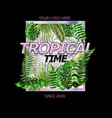 design with tropical leaves and a hologram frame vector image